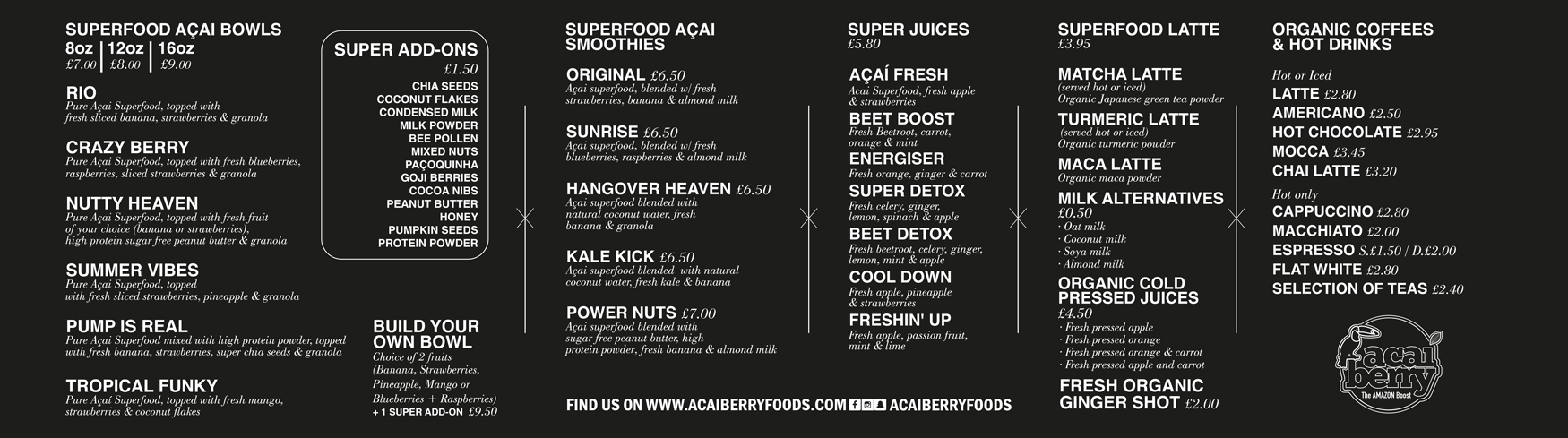 Acai Berry menu