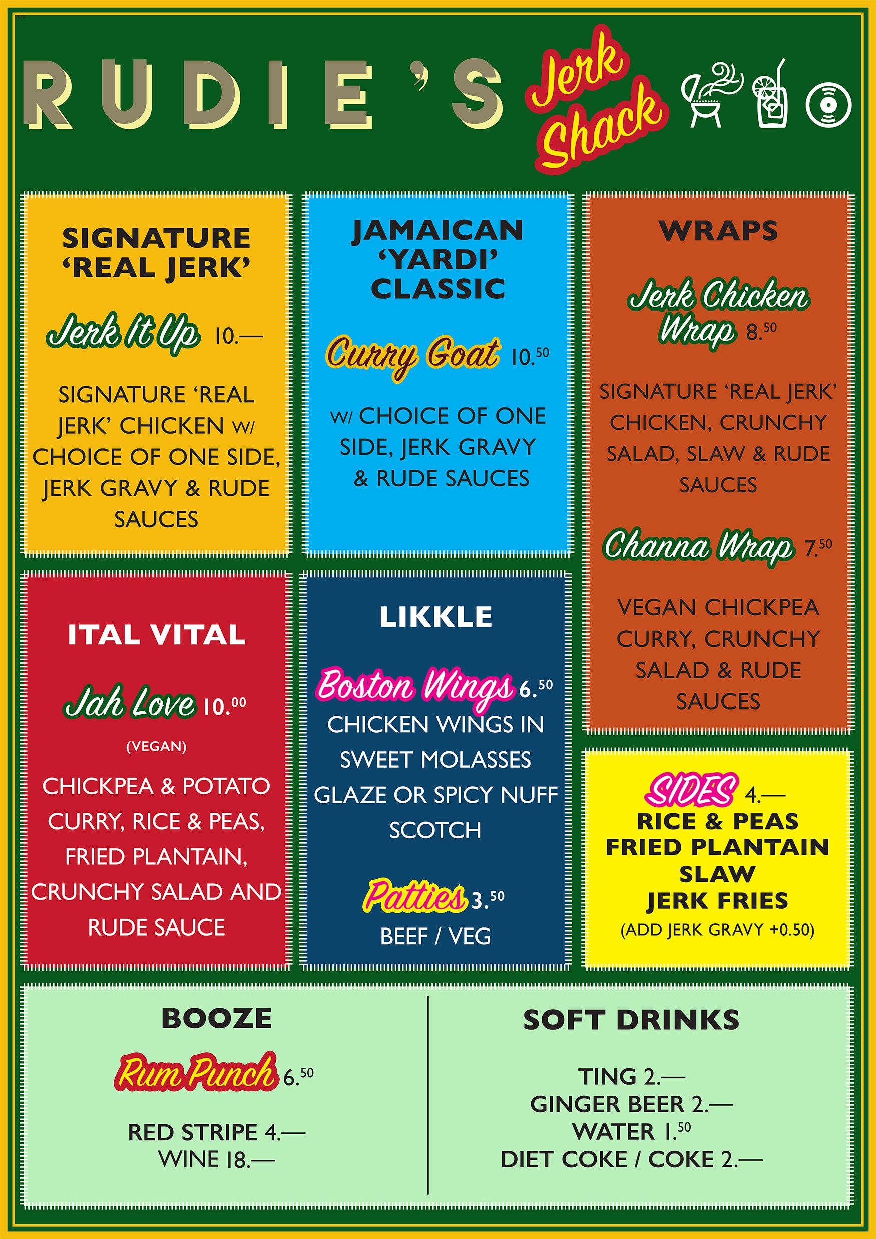 Rudie's Jerk Shack menu