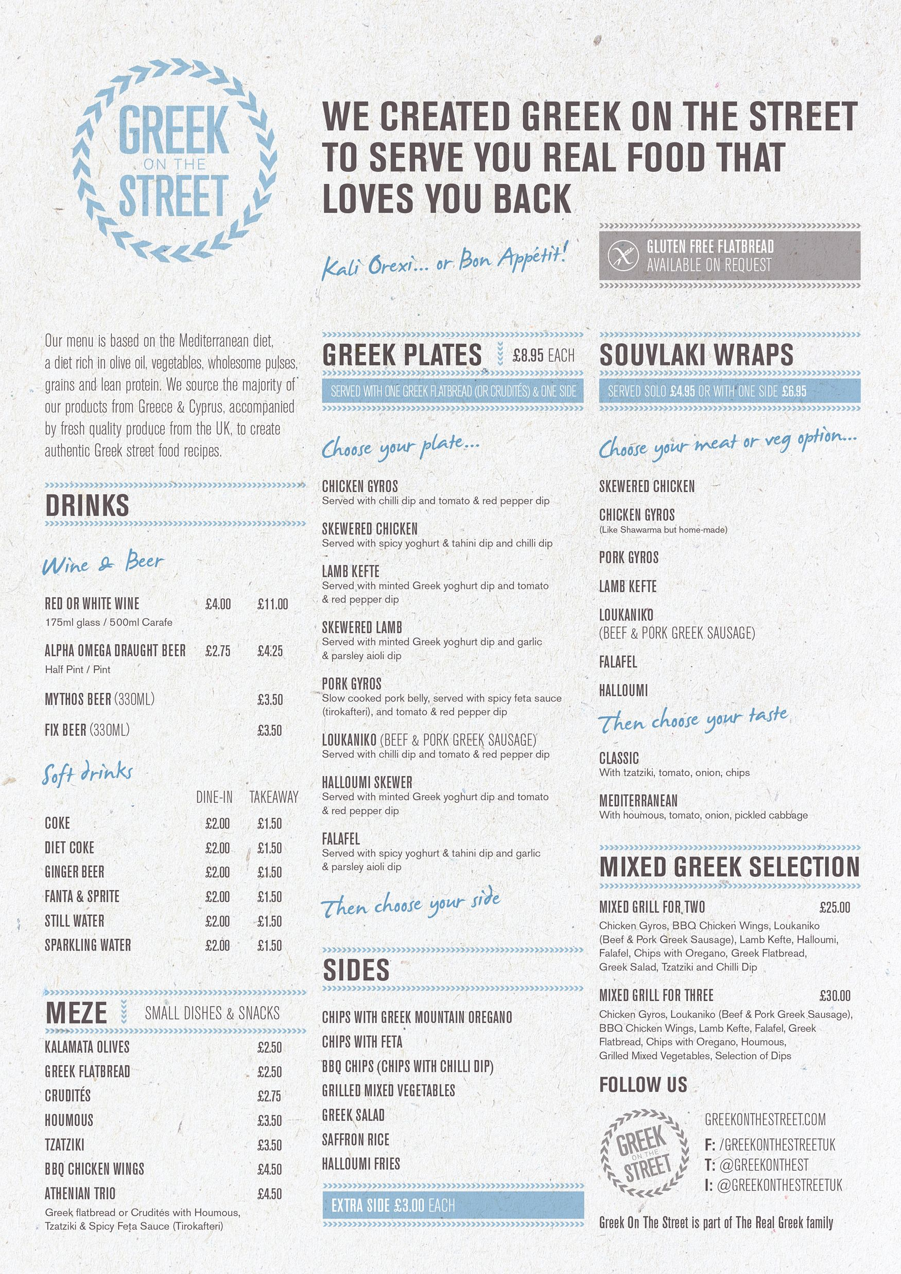 Greek On The Street menu