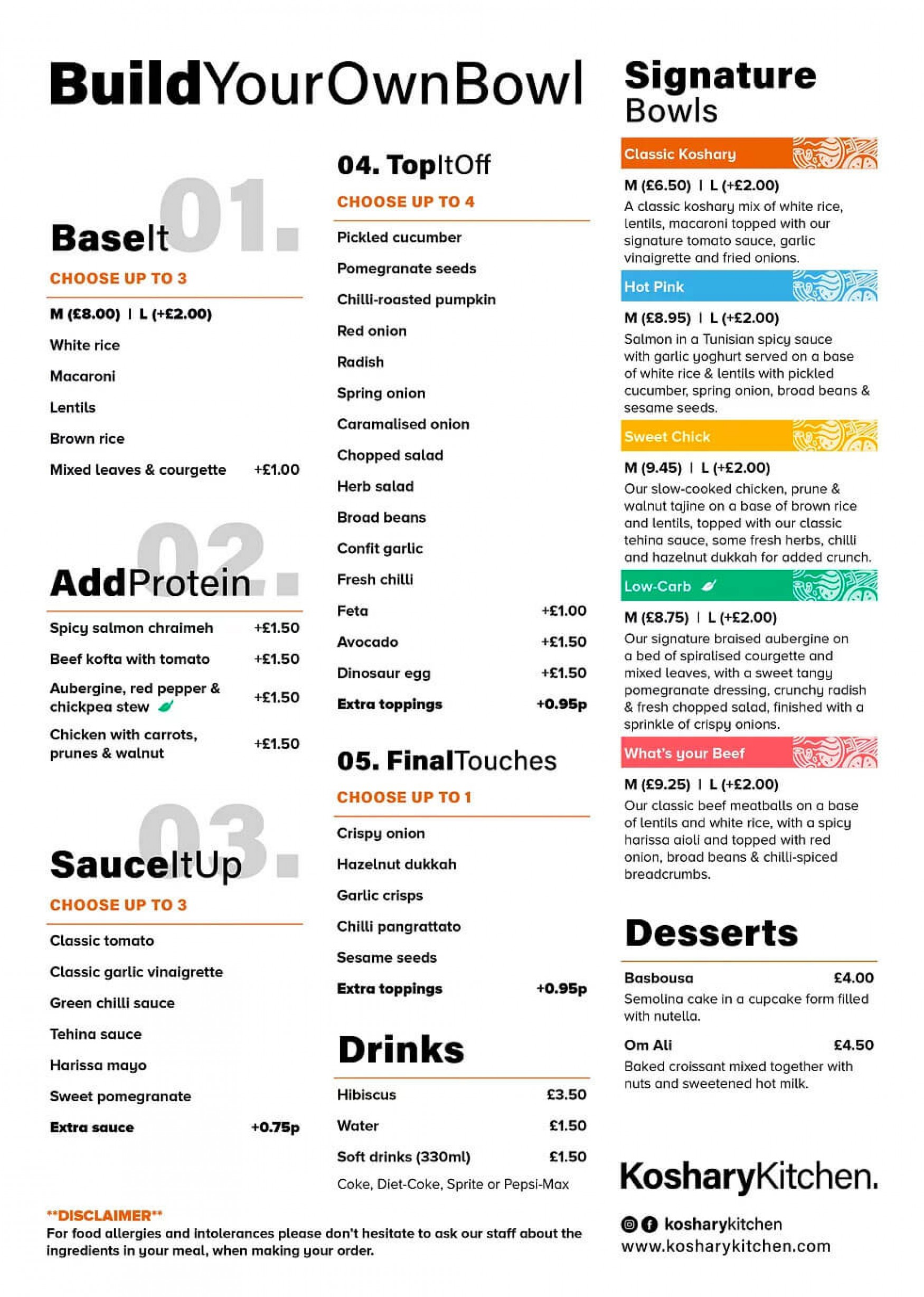 Koshary Kitchen menu