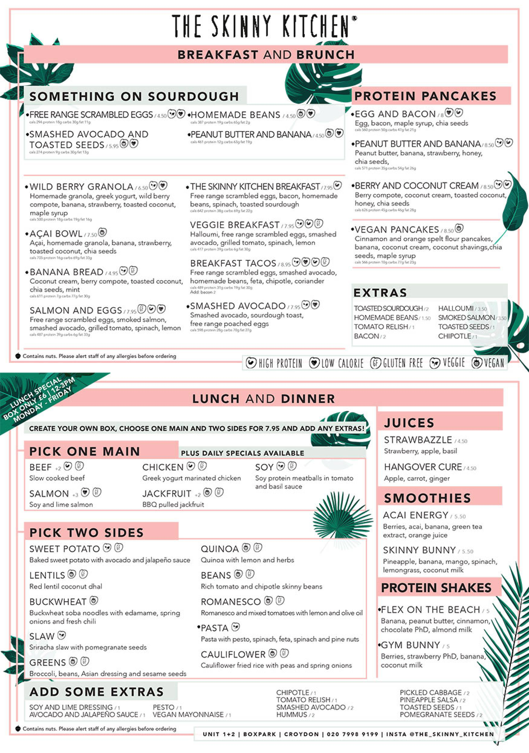 The Skinny Kitchen menu