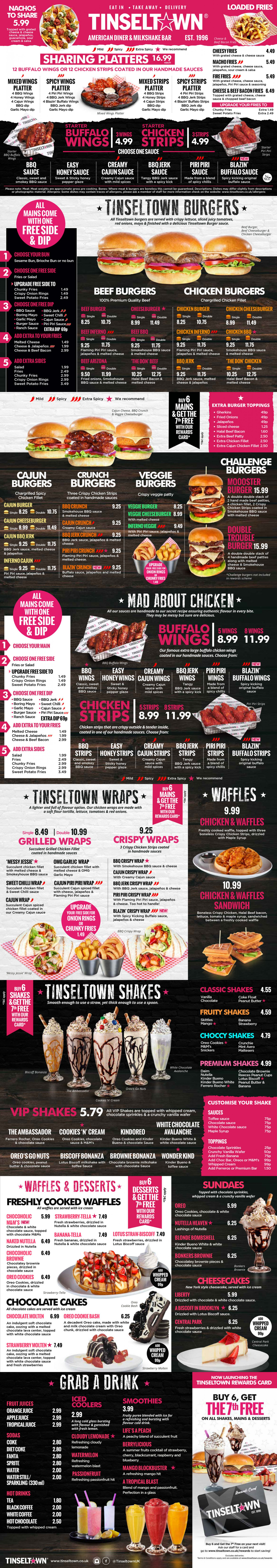 Tinseltown menu