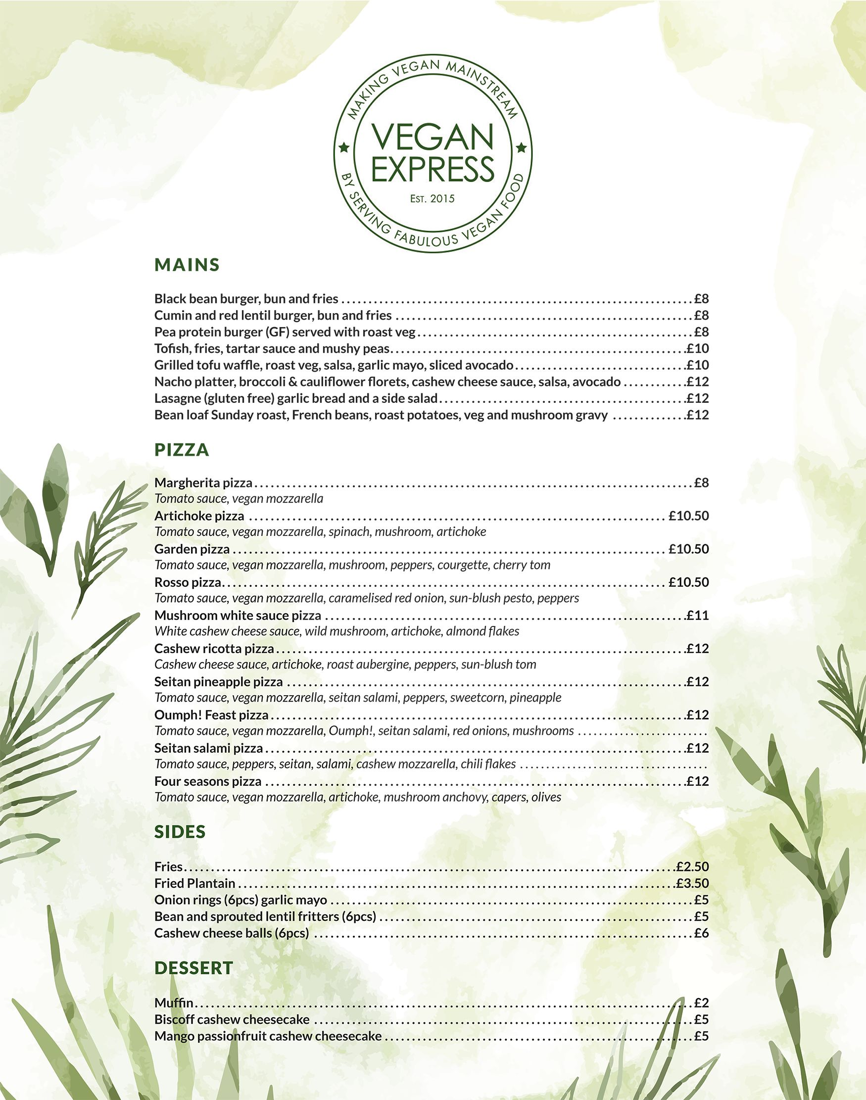 Vegan Express Gourmet menu